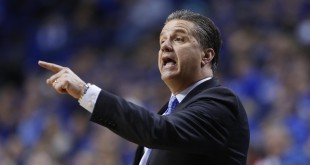 Feb 9, 2016; Lexington, KY, USA; Kentucky Wildcats head coach John Calipari coaches his team against the Georgia Bulldogs in the second half at Rupp Arena. Kentucky defeated Georgia 82-48. Mandatory Credit: Mark Zerof-USA TODAY Sports