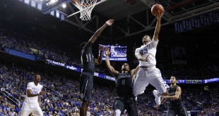Jan 23, 2016; Lexington, KY, USA; Kentucky Wildcats guard Jamal Murray (23) shoots the ball against Vanderbilt Commodores forward Jeff Roberson (11) in the second half at Rupp Arena. Kentucky defeated Vanderbilt 76-55. Mandatory Credit: Mark Zerof-USA TODAY Sports