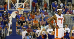 Feb 3, 2016; Gainesville, FL, USA; Florida Gators guard Kasey Hill (0) looks on during the second half against the Arkansas Razorbacks at Stephen C. O'Connell Center. The Florida Gators won 87-83. Mandatory Credit: Logan Bowles-USA TODAY Sports