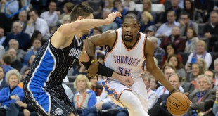 Feb 3, 2016; Oklahoma City, OK, USA; Oklahoma City Thunder forward Kevin Durant (35) drives to the basket against Orlando Magic center Nikola Vucevic (9) during the fourth quarter at Chesapeake Energy Arena. Mandatory Credit: Mark D. Smith-USA TODAY Sports