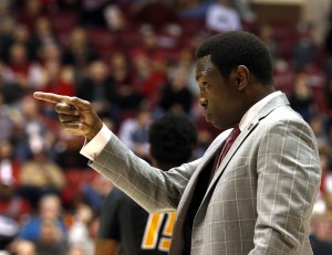 Feb 6, 2016; Tuscaloosa, AL, USA; Alabama Crimson Tide head coach Avery Johnson reacts to a score during the second half of an NCAA basketball game against the Missouri Tigers at Coleman Coliseum. Alabama won 80-71. Mandatory Credit: Butch Dill-USA TODAY Sports
