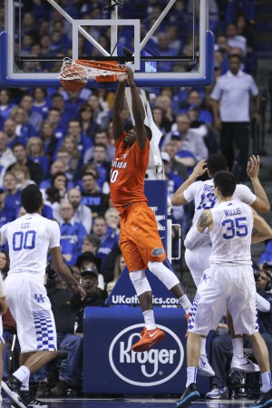 Feb 6, 2016; Lexington, KY, USA; Florida Gators forward Dorian Finney-Smith (10) dunks the ball against the Kentucky Wildcats in the second half at Rupp Arena. Kentucky defeated Florida 80-61. Mandatory Credit: Mark Zerof-USA TODAY Sports