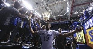 Feb 6, 2016; Lexington, KY, USA; Kentucky Wildcats guard Isaiah Briscoe (13) celebrates with fans after the game against the Florida Gators at Rupp Arena. Kentucky defeated Florida 80-61. Mandatory Credit: Mark Zerof-USA TODAY Sports