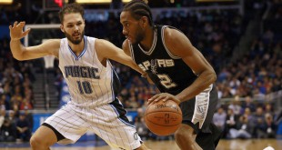 Feb 10, 2016; Orlando, FL, USA; San Antonio Spurs forward Kawhi Leonard (2) drives to the basket as Orlando Magic guard Evan Fournier (10) defends during the second half at Amway Center. San Antonio defeated Orlando 98-96. Mandatory Credit: Kim Klement-USA TODAY Sports