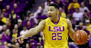 Feb 13, 2016; Baton Rouge, LA, USA; LSU Tigers forward Ben Simmons (25) brings the ball up court against the Texas A&M Aggies during the first half of a game at the Pete Maravich Assembly Center. Mandatory Credit: Derick E. Hingle-USA TODAY Sports