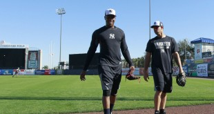 Feb 18, 2016; Tampa, FL, USA; New York Yankees relief pitcher Aroldis Chapman (54) and New York Yankees catcher Gary Sanchez (72)walk off the field as they practice or spring training at George M. Steinbrenner Field. Mandatory Credit: Kim Klement-USA TODAY Sports