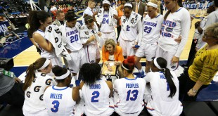 Mar 4, 2016; Jacksonville, FL, USA; Florida Gators head coach Amanda Butler talks to her team during a timeout in the third quarter during the women's SEC basketball tournament at Jacksonville Memorial Veterans Arena. Kentucky won 92-69. Mandatory Credit: Logan Bowles-USA TODAY Sports