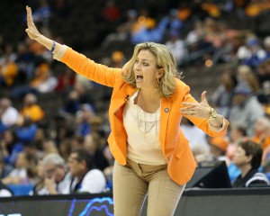 Mar 4, 2016; Jacksonville, FL, USA; Florida Gators head coach Amanda Butler yells out from the bench in the second quarter against the Kentucky Wildcats during the women's SEC basketball tournament at Jacksonville Memorial Veterans Arena. Mandatory Credit: Logan Bowles-USA TODAY Sports