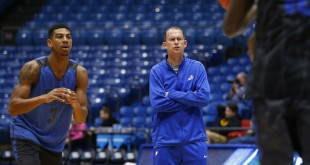 Mar 14, 2016; Dayton, OH, USA; Florida Gulf Coast Eagles head coach Joe Dooley looks on during a practice day before the First Four of the NCAA men's college basketball tournament at Dayton Arena. Mandatory Credit: Rick Osentoski-USA TODAY Sports