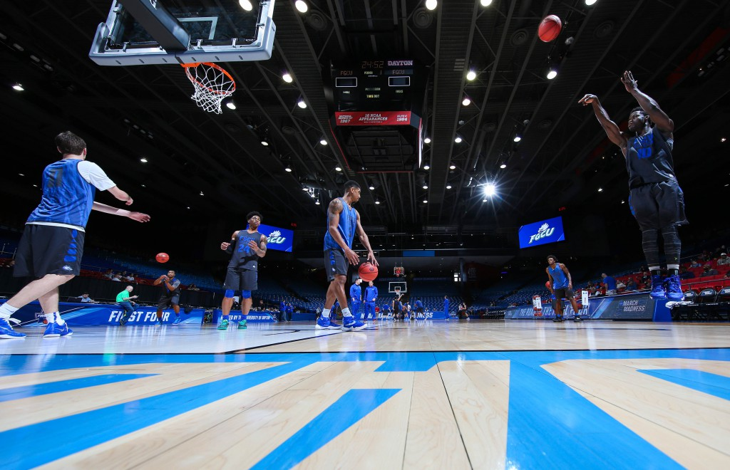 Mar 14, 2016; Dayton, OH, USA; Florida Gulf Coast Eagles forward Kevin Mickle (10) shoots during a practice day before the First Four of the NCAA men's college basketball tournament at Dayton Arena. Mandatory Credit: Brian Spurlock-USA TODAY Sports
