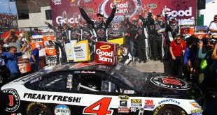 Mar 13, 2016; Avondale, AZ, USA; NASCAR Sprint Cup Series driver Kevin Harvick celebrates after winning the Good Sam 500 at Phoenix International Raceway. Mandatory Credit: Mark J. Rebilas-USA TODAY Sports