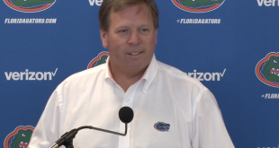 Coach Jim McElwain addresses the media on Monday before practice.