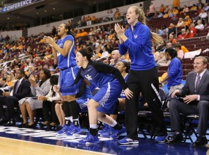 Mar 6, 2015; North Little Rock, AR, USA; Kentucky Wildcats players celebrate from the bench after a score against the Mississippi State Bulldogs during the second round of the SEC Women's Tournament at Verizon Arena. Kentucky defeated Mississippi State 76-67. Mandatory Credit: Nelson Chenault-USA TODAY Sports