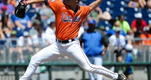 Jun 19, 2015; Omaha, NE, USA; Virginia Cavaliers pitcher Nathan Kirby (19) started the game against the Florida Gators in the 2015 College World Series at TD Ameritrade Park. Mandatory Credit: Steven Branscombe-USA TODAY Sports