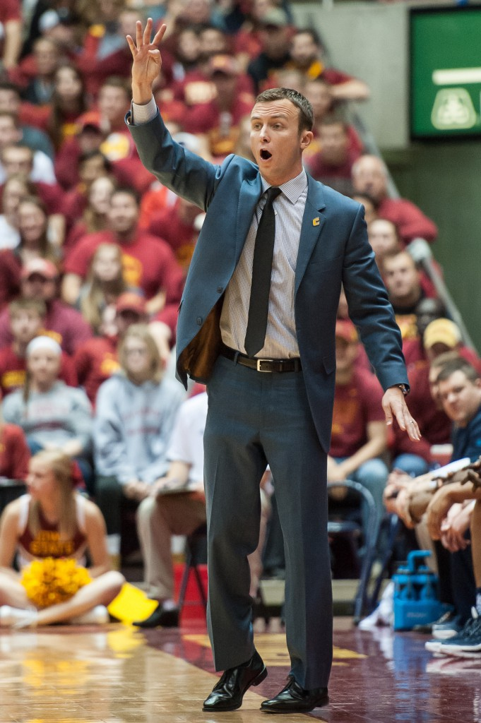 Nov 23, 2015; Ames, IA, USA; Chattanooga Mocs head coach Matt McCall signals instructions to his team during the first half against the Iowa State Cyclones at James H. Hilton Coliseum. Mandatory Credit: Jeffrey Becker-USA TODAY Sports