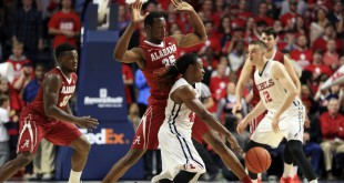 Jan 7, 2016; Oxford, MS, USA; Mississippi Rebels guard Stefan Moody (42) dribbles the ball against Alabama Crimson Tide forward Donta Hall (35) during the second half at The Pavilion at Ole Miss. Mississippi Rebels defeat the Alabama Crimson Tide 74-66. Mandatory Credit: Spruce Derden-USA TODAY Sports