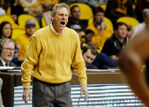 Jan 30, 2016; Laramie, WY, USA; Wyoming Cowboys head coach Larry Shyatt reacts against the Colorado State Rams during the second half at Arena-Auditorium. The Cowboys beat the Rams 83-76. Mandatory Credit: Troy Babbitt-USA TODAY Sports