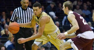Feb 4, 2016; Nashville, TN, USA; Vanderbilt Commodores guard Wade Baldwin IV (4) drives against Texas A&M Aggies guard Alex Caruso (21) during the second half at Memorial Gym. Vanderbilt won 77-60. Mandatory Credit: Jim Brown-USA TODAY Sports