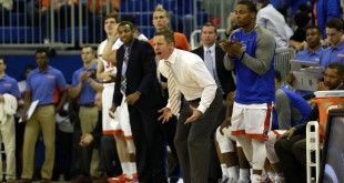 Feb 9, 2016; Gainesville, FL, USA; Florida Gators head coach Mike White reacts on the bench against the Mississippi Rebels during the second half at Stephen C. O'Connell Center. Florida Gators defeated the Mississippi Rebels 77-72. Mandatory Credit: Kim Klement-USA TODAY Sports