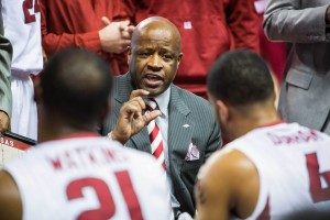 Feb 17, 2016; Fayetteville, AR, USA; Arkansas Razorbacks head coach Mike Anderson gestures to his players while giving them instructions during a timeout during the first half of play with the Auburn Tigers at Bud Walton Arena. The Tigers won 90-86. Mandatory Credit: Gunnar Rathbun-USA TODAY Sports