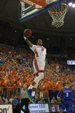 Mar 1, 2016; Gainesville, FL, USA; Florida Gators guard Kasey Hill (0) dunks against the Kentucky Wildcats during the first half at Stephen C. O'Connell Center. Mandatory Credit: Kim Klement-USA TODAY Sports