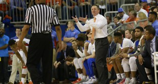 Mar 1, 2016; Gainesville, FL, USA; Florida Gators head coach Mike White reacts to the referee against the Kentucky Wildcats during the second half at Stephen C. O'Connell Center. Kentucky Wildcats defeated the Florida Gators 88-79. Mandatory Credit: Kim Klement-USA TODAY Sports