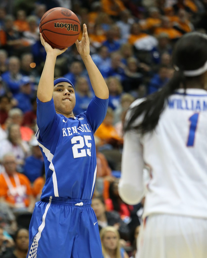 Mar 4, 2016; Jacksonville, FL, USA; Kentucky Wildcats guard Makayla Epps (25) takes a shot in first quarter against the Florida Gators during the women's SEC basketball tournament at Jacksonville Memorial Veterans Arena. Mandatory Credit: Logan Bowles-USA TODAY Sports