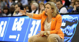 Mar 4, 2016; Jacksonville, FL, USA; Florida Gators head coach Amanda Butler yells from the bench in the third quarter against Kentucky Wildcats during the women's SEC basketball tournament at Jacksonville Memorial Veterans Arena. Kentucky won 92-69. Mandatory Credit: Logan Bowles-USA TODAY Sports