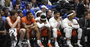 Mar 11, 2016; Nashville, TN, USA; Florida Gators players react after a loss to the Texas A&M Aggies during the SEC conference tournament at Bridgestone Arena. Texas A&M Aggies won 72-66. Mandatory Credit: Christopher Hanewinckel-USA TODAY Sports