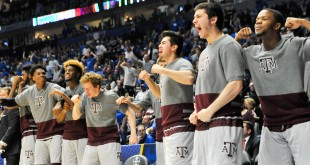 Mar 13, 2016; Nashville, TN, USA; Texas A&M Aggies celebrate after a play during the second half of the championship game of the SEC tournament against Kentucky Wildcats at Bridgestone Arena. Mandatory Credit: Jim Brown-USA TODAY Sports
