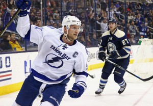Mar 13, 2016; Columbus, OH, USA; Tampa Bay Lightning center Steven Stamkos (91) reacts to scoring a shorthanded goal against the Columbus Blue Jackets in the third period at Nationwide Arena. The Lightning won 4-0. Mandatory Credit: Aaron Doster-USA TODAY Sports