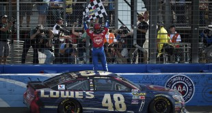 Mar 20, 2016; Fontana, CA, USA; Sprint Cup Series driver Jimmie Johnson (48) celebrates his win at the Auto Club 400 at Auto Club Speedway. Mandatory Credit: Kelvin Kuo-USA TODAY Sports