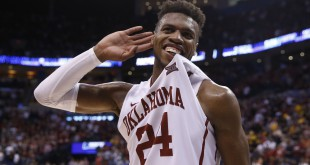 Mar 20, 2016; Oklahoma City, OK, USA; Oklahoma Sooners guard Buddy Hield (24) celebrates defeating the Virginia Commonwealth Rams 85-81 during the second round of the 2016 NCAA Tournament at Chesapeake Energy Arena. Mandatory Credit: Kevin Jairaj-USA TODAY Sports