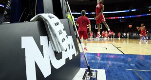 Mar 24, 2016; Philadelphia , PA, USA; General view of March Madness logos as the Indiana Hoosiers practice the day before the semifinals of the East regional of the NCAA Tournament at Wells Fargo Center. Mandatory Credit: Bill Streicher-USA TODAY Sports