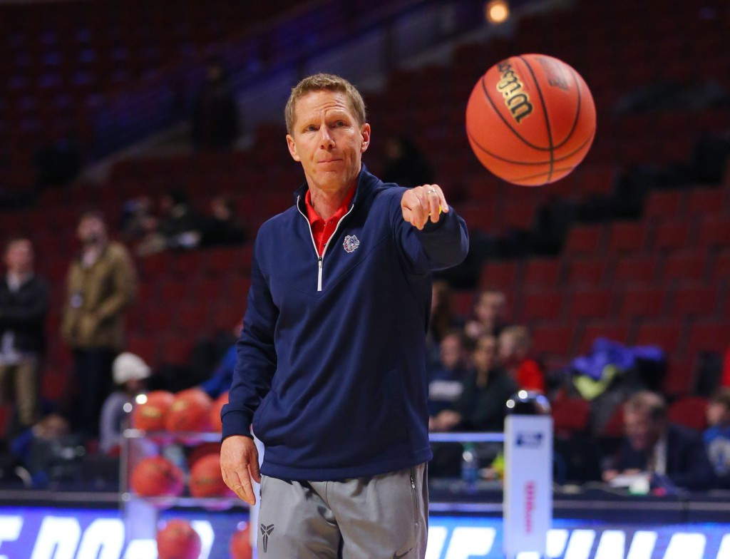 Mar 24, 2016; Chicago, IL, USA; Gonzaga Bulldogs head coach Mark Few during practice the day before the semifinals of the Midwest regional of the NCAA Tournament at United Center. Mandatory Credit: Dennis Wierzbicki-USA TODAY Sports