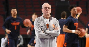 Mar 24, 2016; Chicago, IL, USA; Syracuse Orange head coach Jim Boeheim during practice the day before the semifinals of the Midwest regional of the NCAA Tournament at United Center. Mandatory Credit: David Banks-USA TODAY Sports