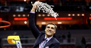 Mar 26, 2016; Louisville, KY, USA; Villanova Wildcats head coach Jay Wright celebrates after beating the Kansas Jayhawks in the south regional final of the NCAA Tournament at KFC YUM!. Mandatory Credit: Aaron Doster-USA TODAY Sports