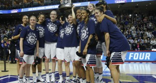Mar 28, 2016; Bridgeport, CT, USA; The Connecticut Huskies celebrate after defeating the Texas Longhorns in the finals of the Bridgeport regional of the women's NCAA Tournament at Webster Bank Arena. UConn defeated Texas 86-65. Mandatory Credit: David Butler II-USA TODAY Sports
