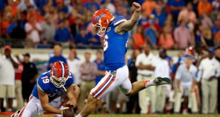 Oct 31, 2015; Jacksonville, FL, USA; Florida Gators place kicker Austin Hardin (16) kicks an extra point against the Georgia Bulldogs during the second half at  EverBank Stadium. Florida Gators defeated the Georgia Bulldogs 27-3. Mandatory Credit: Kim Klement-USA TODAY Sports