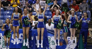 Mar 15, 2016; Dayton, OH, USA; Florida Gulf Coast Eagles cheerleaders react during the end of the second half against the Fairleigh Dickinson Knights of First Four of the NCAA men's college basketball tournament at Dayton Arena. Florida Gulf Coast won 96-65. Mandatory Credit: Rick Osentoski-USA TODAY Sports