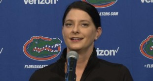 Florida Gymnastics head coach Jenny Rowland addresses the media Monday morning.