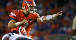 Oct 3, 2015; Gainesville, FL, USA; Florida Gators quarterback Will Grier (7) points against the Mississippi Rebels during the second half at Ben Hill Griffin Stadium. Florida Gators defeated the Mississippi Rebels 38-10. Mandatory Credit: Kim Klement-USA TODAY Sports