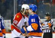 Apr 24, 2016; Brooklyn, NY, USA; New York Islanders center John Tavares (91) is congratulated by Florida Panthers right wing Jaromir Jagr (68) after the Islanders defeated the Panthers in game six of the first round of the 2016 Stanley Cup Playoffs at Barclays Center. The Islanders defeated the Panthers 2-1 to win the series four games to two. Mandatory Credit: Andy Marlin-USA TODAY Sports