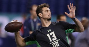 Feb 27, 2016; Indianapolis, IN, USA; Memphis Tigers quarterback Paxton Lynch throws a pass during the 2016 NFL Scouting Combine at Lucas Oil Stadium. Mandatory Credit: Brian Spurlock-USA TODAY Sports
