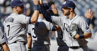 Apr 24, 2016; Bronx, NY, USA; Tampa Bay Rays right fielder Steven Souza Jr. (right) and first baseman Logan Morrison (7) celebrate after defeating the New York Yankees 8-1 at Yankee Stadium. Mandatory Credit: Noah K. Murray-USA TODAY Sports