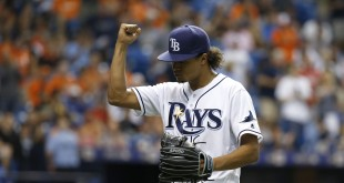 Apr 25, 2016; St. Petersburg, FL, USA; Tampa Bay Rays starting pitcher Chris Archer (22) pump his fist as he is taken out of the game during the seventh inning against the Baltimore Orioles at Tropicana Field. Tampa Bay Rays defeated the Baltimore Orioles 2-0. Mandatory Credit: Kim Klement-USA TODAY Sports