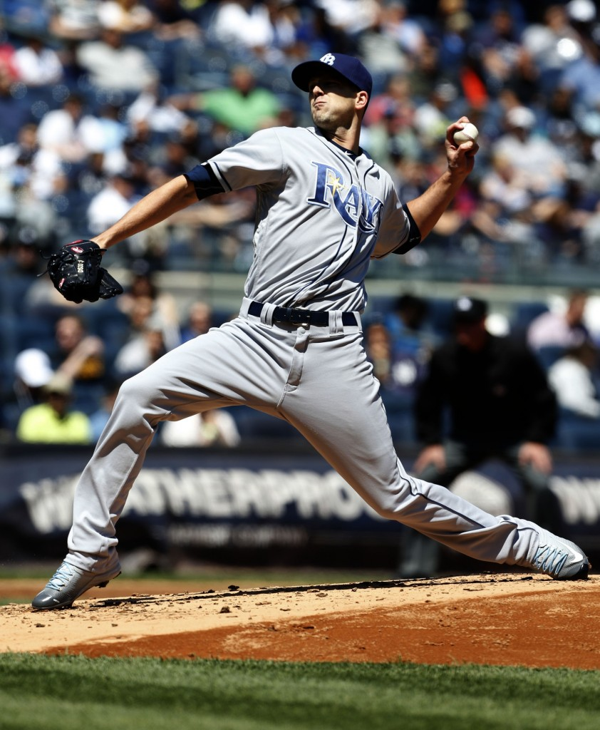 Apr 24, 2016; Bronx, NY, USA; Tampa Bay Rays starting pitcher Drew Smyly (33) delivers a pitch against the New York Yankees in the first inning at Yankee Stadium. Mandatory Credit: Noah K. Murray-USA TODAY Sports