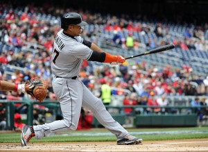 Apr 10, 2016; Washington, DC, USA; Miami Marlins right fielder Giancarlo Stanton (27) hits an RBI single against the Washington Nationals during the first inning at Nationals Park. Mandatory Credit: Brad Mills-USA TODAY Sports