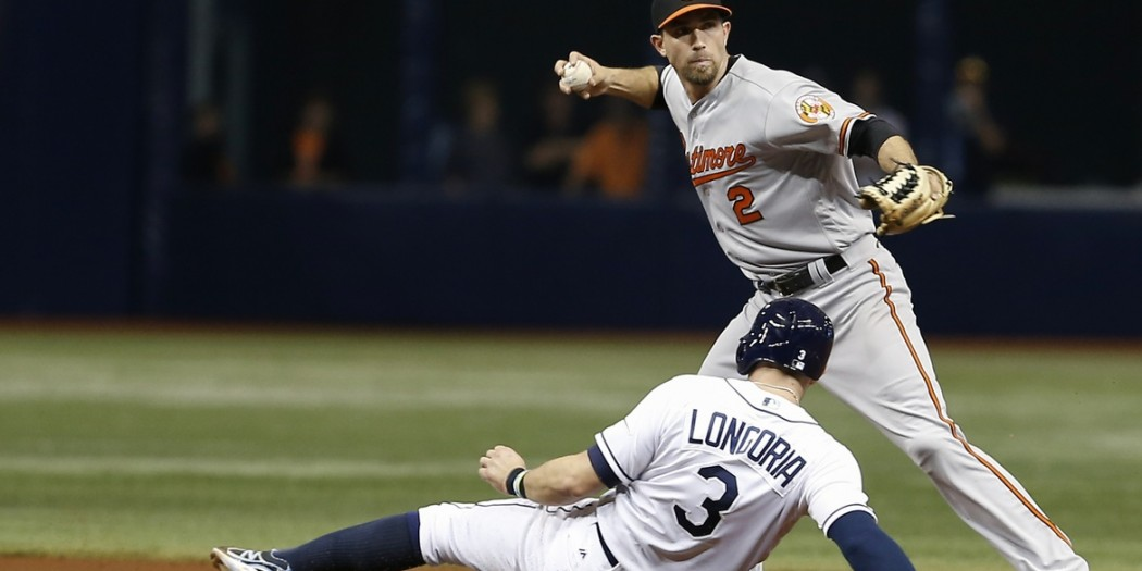 Apr 27, 2016; St. Petersburg, FL, USA; Tampa Bay Rays third baseman Evan Longoria (3) is forced out at second by Baltimore Orioles shortstop J.J. Hardy (2) during the ninth inning of a baseball game at Tropicana Field. The Orioles won 3-1. Mandatory Credit: Reinhold Matay-USA TODAY Sports