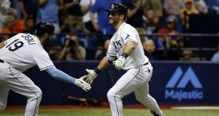 Apr 26, 2016; St. Petersburg, FL, USA; Tampa Bay Rays center fielder Kevin Kiermaier (39) is congratulate by catcher Curt Casali (19) after he hit a two run home run during the sixth inning against the Baltimore Orioles at Tropicana Field. Mandatory Credit: Kim Klement-USA TODAY Sports